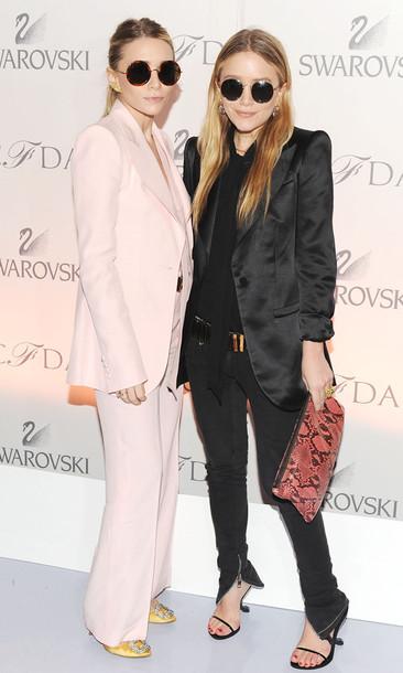 olsen sisters jewels sunglasses jacket shoes blouse bag belt