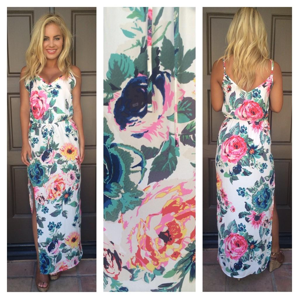 Floral Print Slit Maxi Dress