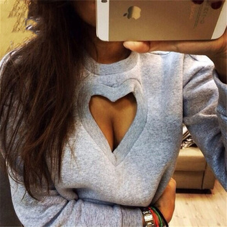 top hollow out heart sexy bra hoodie swearshirt