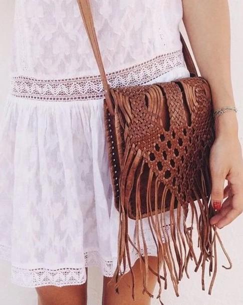 bag fringed bag fringes brown leather white dress
