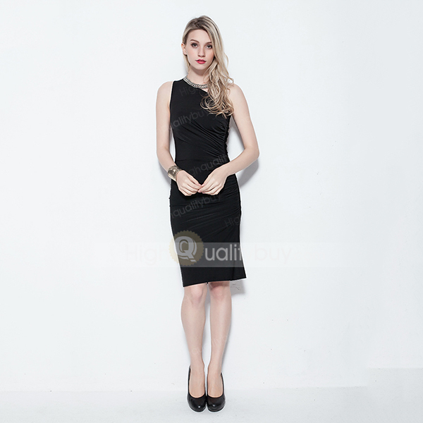Shoulder black short evening dress for women_$58.03