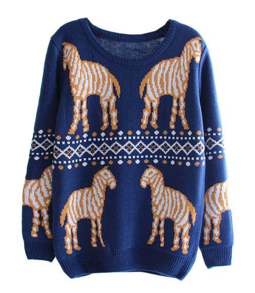 Navy Mirror Zebra Sweater
