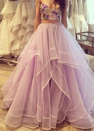 dress purple dress floral dress two piece dress set prom dress long prom dress 2 piece prom dress white dress floral top crop floral top white purple prom light purple dress strapless