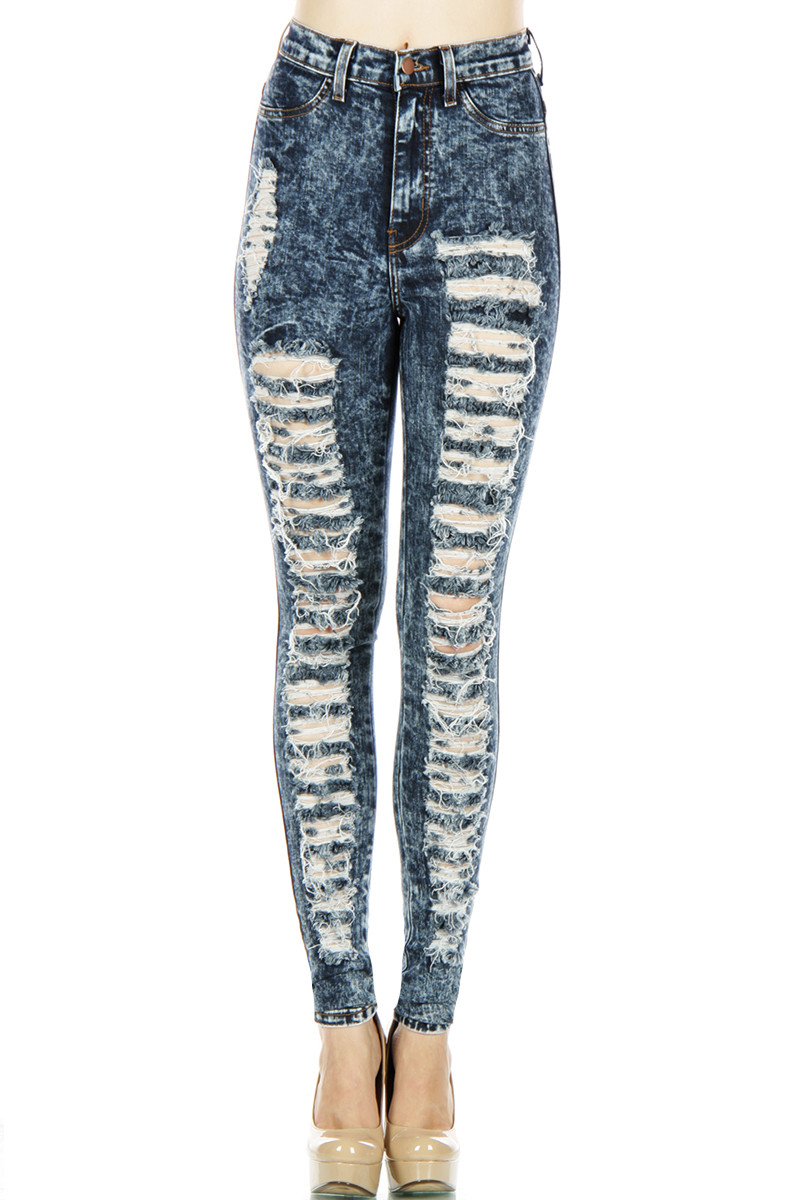 Vibrant miu distressed side denim jeans