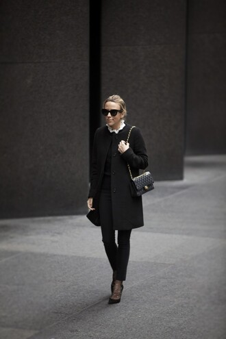 damsel in dior blogger coat t-shirt shoes sweater socks