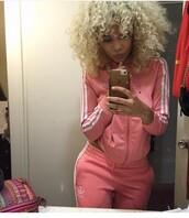 jacket,adidas,septum piercing,tracksuit,iphone,light pink