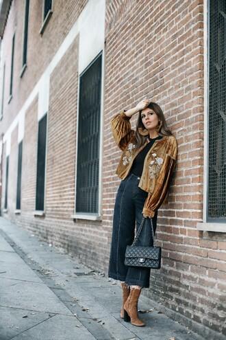 jacket velvet jacket tumblr mustard velvet pants wide-leg pants denim culottes culottes boots suede boots bag black bag