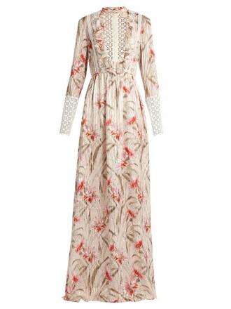 gown chiffon daisy lace print silk light pink light pink dress