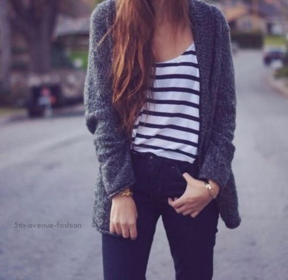 shirt black jeans jacket jeans gray sweater cardigan navy blue white striped shirt