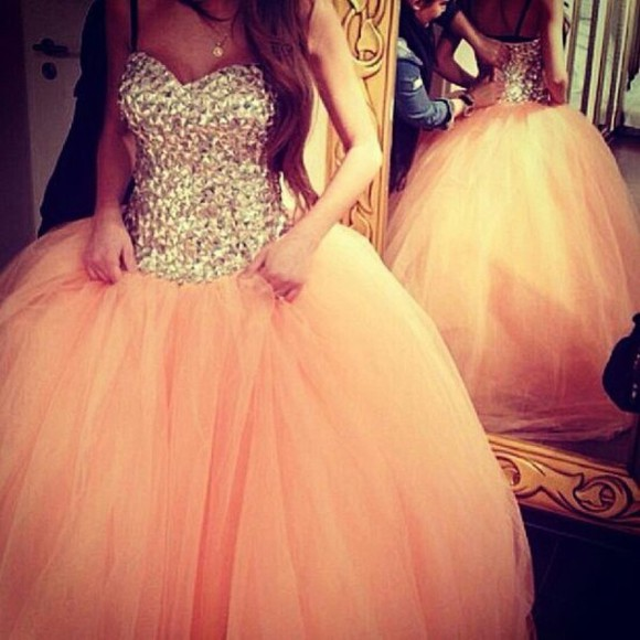 peach dress prom dress sparkly dress prom strapless bling orange gold peach