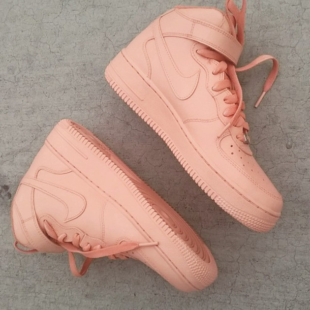 nude shoes peach shoes coral shoes nike air force 1 high top nude sneakers pastel sneakers