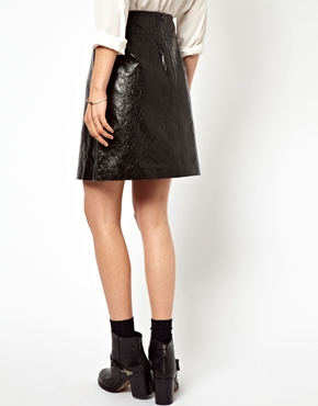 ASOS A-Line Skirt in Cracked Leather at ASOS