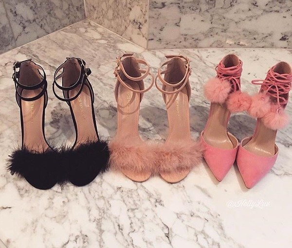 Shoes Lace Up Heels High Heels Nude Heels Fluffy