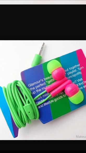 earphones pink green neon bright earbuds