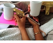 cool,mug,coffee,accessories,gold,white,tumblr,ghetto gold,ghetto,gun,dope wishlist,home accessory