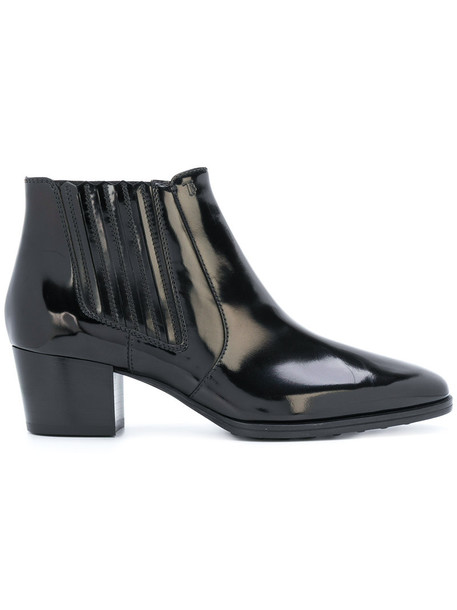 TOD'S women ankle boots leather black shoes