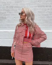 jacket,skirt,two-piece,top,red pink top,crop tops,sunglasses