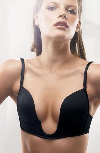 underwear black bra deep v neck