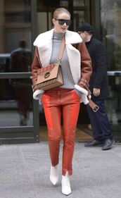 pants,jacket,rosie huntington-whiteley,streetstyle,ankle boots,top,purse,model off-duty