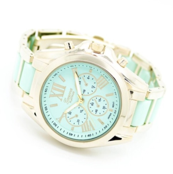 jewels watch classic girly gold turqouise uhr