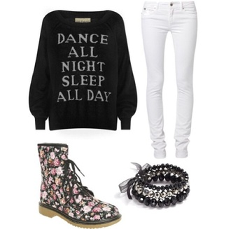 white black and white shoes quote on it boots floral