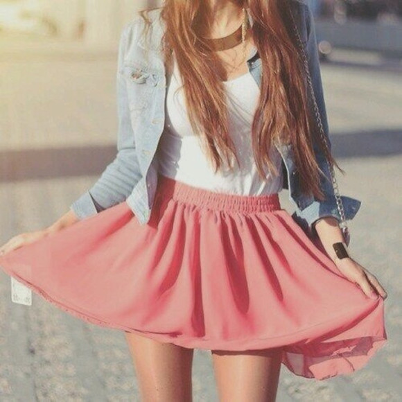 jewels jewelry skirt pink summer skirt denim jacket jacket
