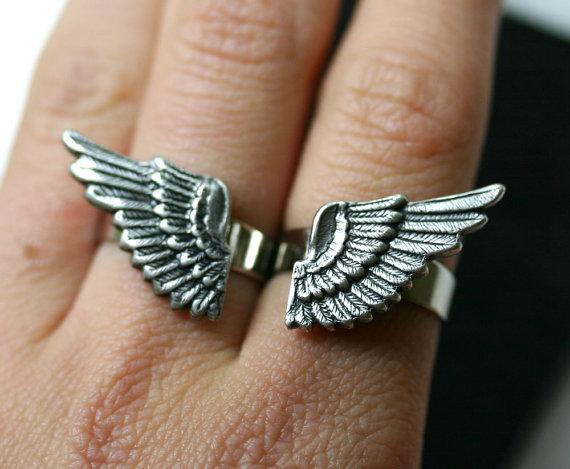 Angel Wing Ring Set silber DoppelFinger von robinhoodcouture