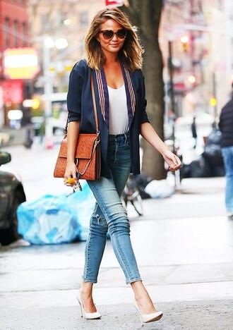 bag chloe faye bag chloe bag chloe brown bag white top jeans blue jeans pumps pointed toe pumps high heel pumps chrissy teigen celebrity blazer blue blazer sunglasses streetstyle