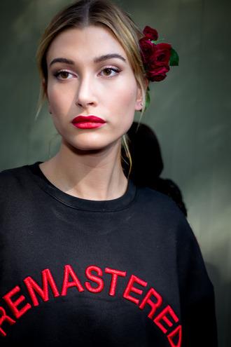 sweater tumblr black sweatshirt sweatshirt quote on it red lipstick lipstick hailey baldwin