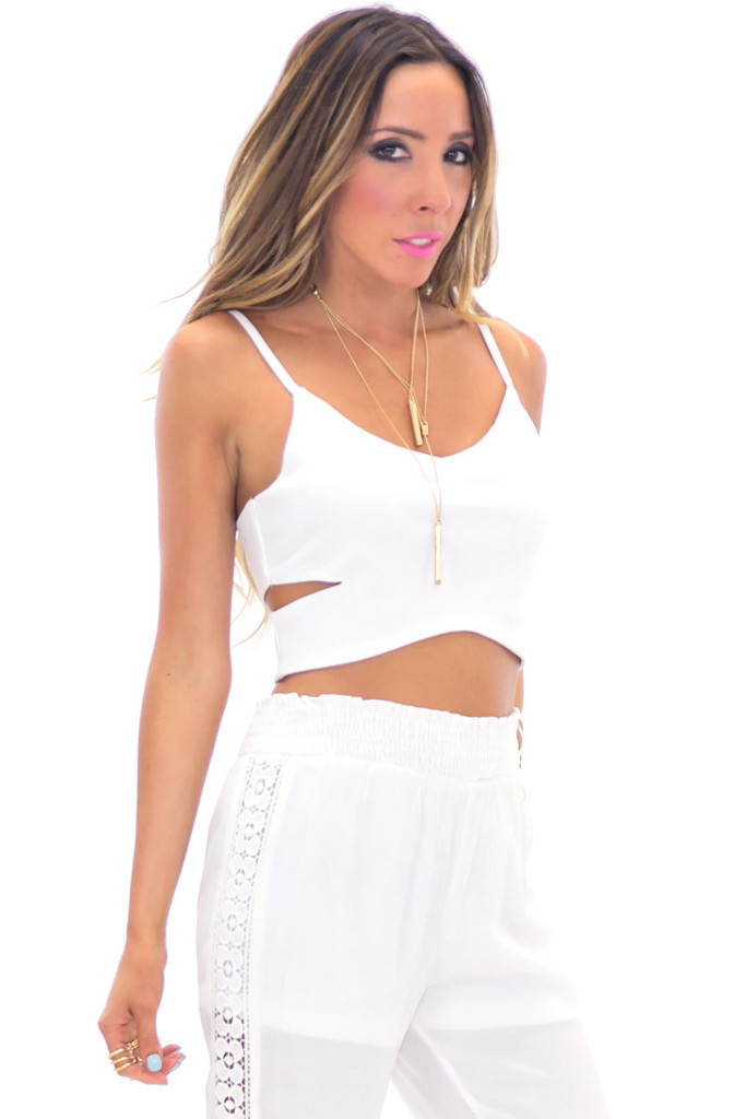 RENERT CUTOUT CROP TOP - White | Haute & Rebellious