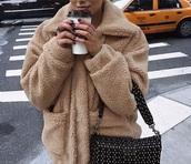coat,cream,fluffy,fuzzy coat,faux fur coat