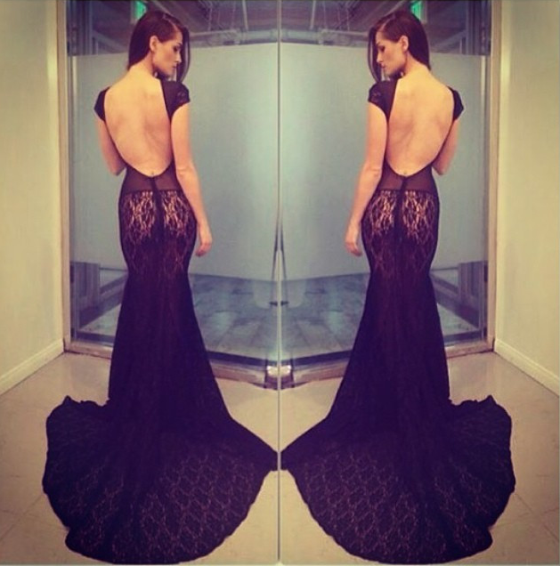 Backless lace black dress costello celebrity mermaid long bodycon