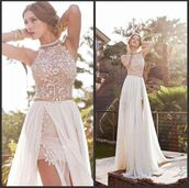 dress,prom dress,wedding dress,lace dress,white dress,white,2 in 1 dress,long dress,overlay