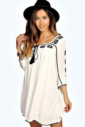 dress embroidered dress boho boho dress white boho dress