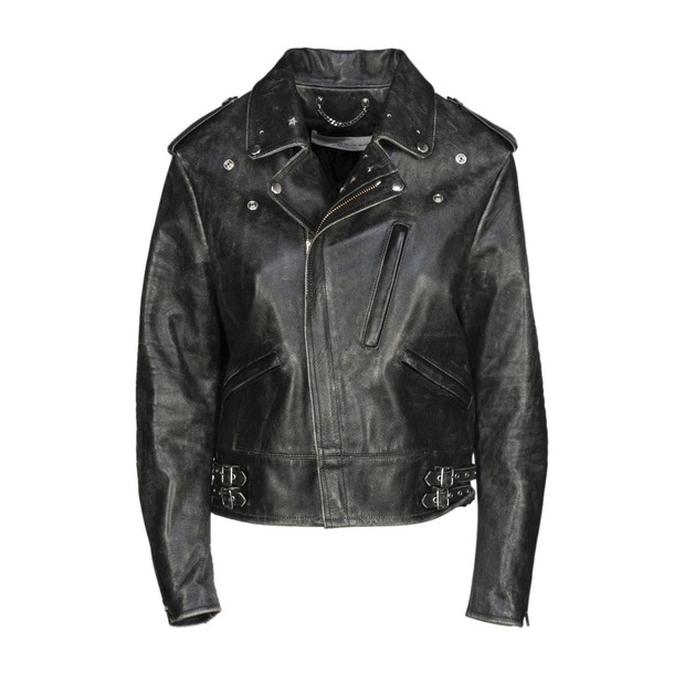 Golden goose jacket biker jacket black