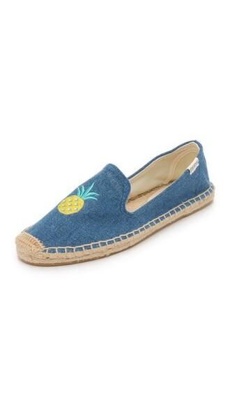 denim pineapple espadrilles blue shoes