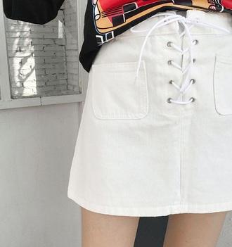 skirt girly denim denim skirt white lace lace up mini mini skirt white denim