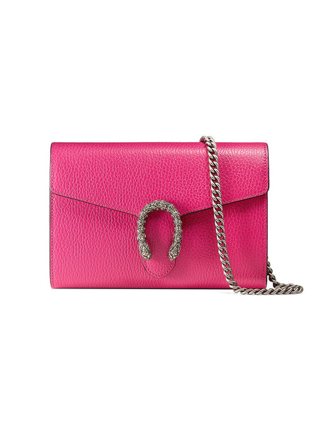 mini metal women bag chain bag leather purple pink