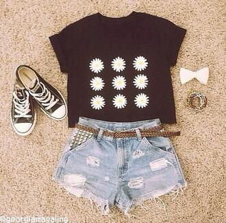 blouse allstars hair bow bangles bracelets daisy tops