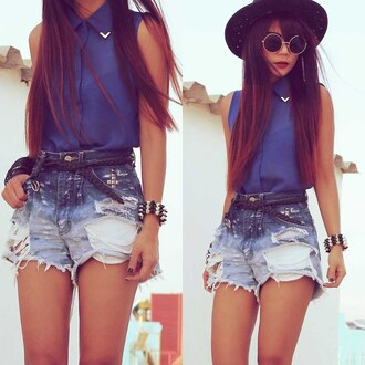 shorts одежда бренд blouse studs stud short blue sunglasses