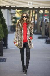 something navy,blogger,sunglasses,animal print,red sweater,skinny pants,clutch,fur leopard print winter coat,sweater,black leather pants,leather pants,fur coat,winter coat,winter look,winter outfits,pointed boots,black boots,printed fur coat