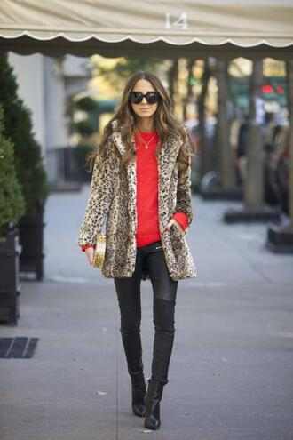 blogger sunglasses something navy animal print red sweater skinny pants clutch