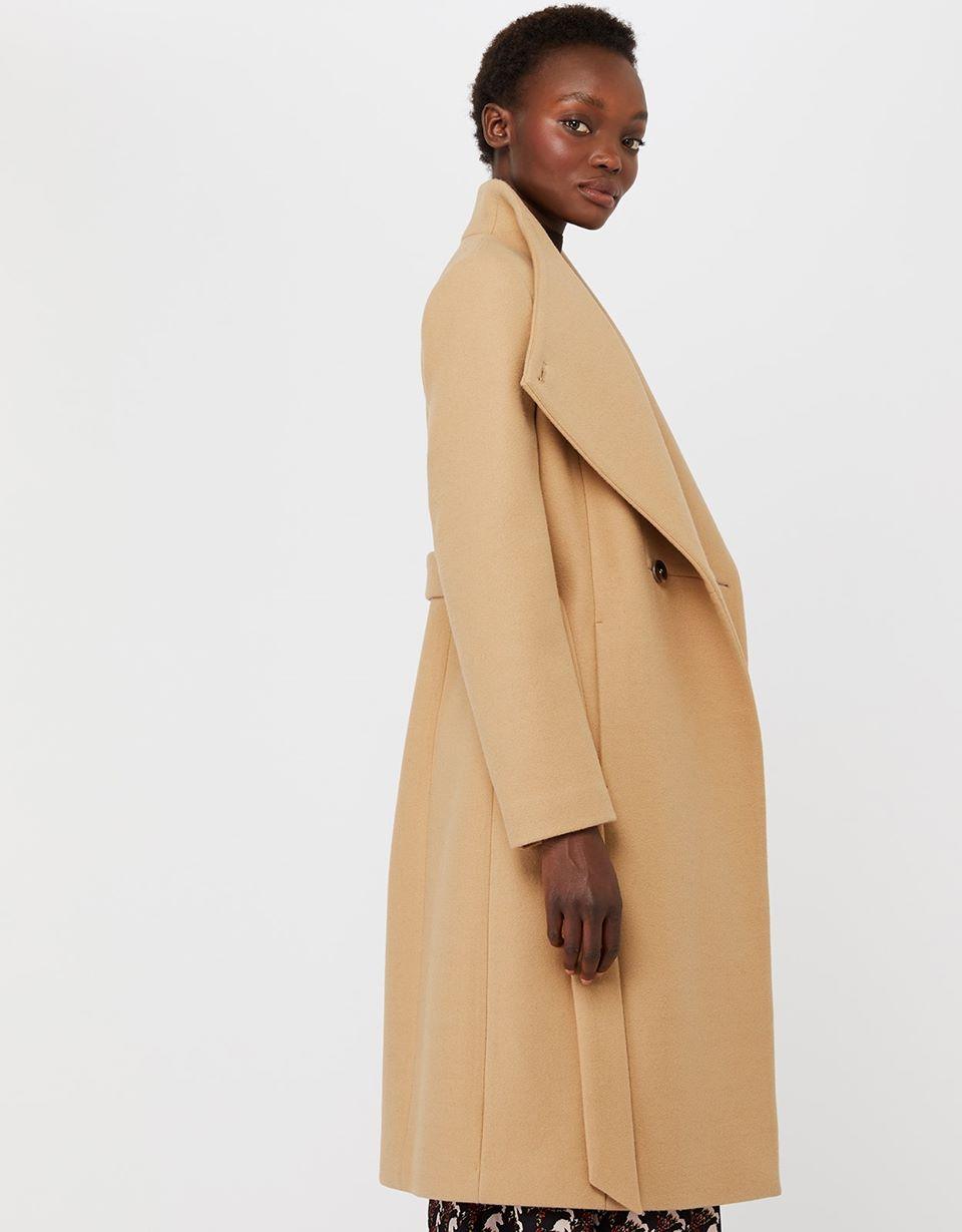 Rita Wrap Collar Long Coat