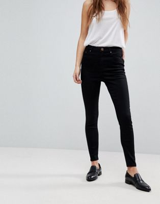 ASOS RIDLEY High Waist Skinny Jeans in Clean Black at asos.com