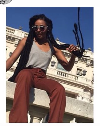pants sunglasses dawn richard hair wide-leg pants box braids
