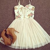 dress,floral,floral skirt,summer,summer dress,summer outfits,shoes,girly,vintage,pastel,cute,pretty,casual,spring,flowers,pink,skirt,hot,boots,corsage,short dress,blouse,tandress,floral white short dress,tutu dress,heels,fashion,outfit,clothes,teenagers,kawaii,white dress,floral dress,white,cream