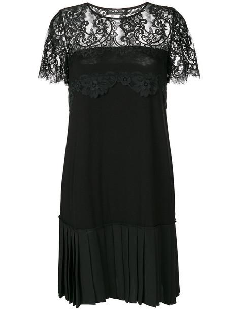 Twin-Set dress pleated women spandex black