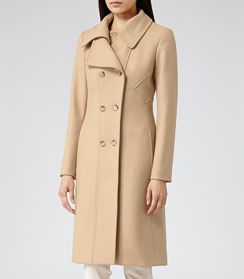 Board Camel Large Collar Overcoat - REISS