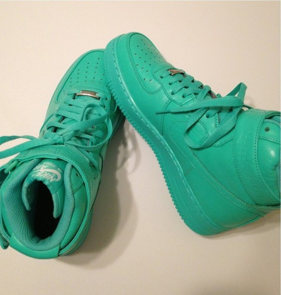shoes sneakers teal nike aqua turquoise high tops nike nike sneakers green high top nike air force 1 nikegreenairforce hightopshoe greenshoes airforce airforce1 tennis shoes