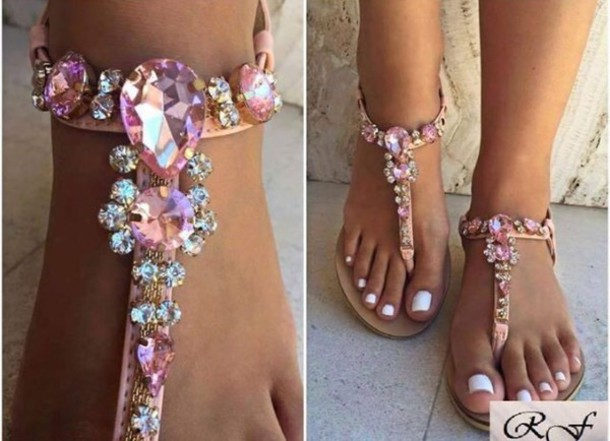 Shoes Pink Sandals Jewels Flat Sandals Jewelry
